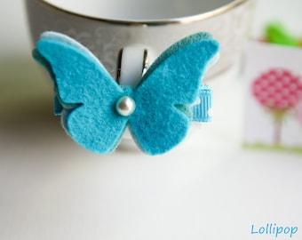 Toddler Hair Clips Infant Hair Clips Baby Hair Clips Girls Hair Clips Turquoise Wool Felt Butterfly Hair Clip Hair Bow