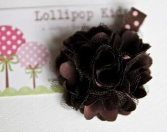 Toddler Hair Clips Hair Clips Baby Hair Clips Girls Hairbows Brown Satin Mesh Hair Clip