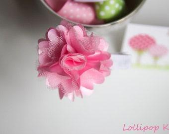 Pink Satin Mesh Hair Clip Toddler Hair Clip Girls Hair Clip Baby Hair Clip