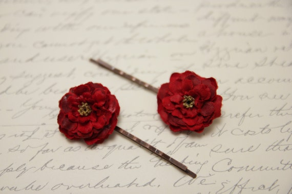 Fabric Flower French Couture  Bobby Pin Hair Accesory