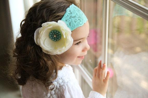RESERVED Ivory Flower Headband  Aqua Flower Headband Baby Headband Toddler Headband Infant Headband Kids Headband Lace Headband