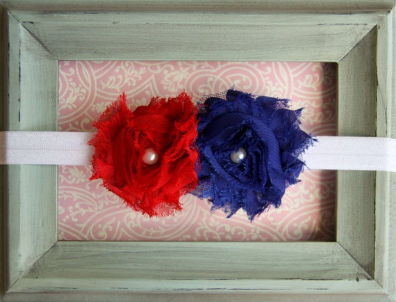 Newborn Headband Infant Headband Toddler Headband Baby Headband Blue Red and White Shabby Flower Patriotic Headband