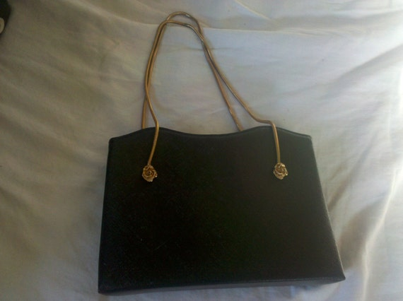 RESEVED FOR MONICAVintage After Five black handbag with rose accents in gold tone and chain handle purse
