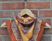 Reserved for Tess. Vintage hand painted paisly neck scarf - Brown and orange