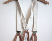 Vintage Childrens Canvas and Leather Button Braces