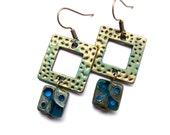 Vintage patina earrings with antique brass connectors and Picasso beads