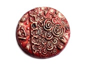 Handmade clay cabochon shimmery red brown and Germanian Silver with Klimt motif