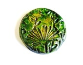 Handmade clay cabochon ceramic cabochon green and yellow  with floral motif
