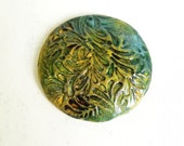 Handmade clay cabochon ceramic cabochon yellow and green with floral motif