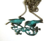 Love birds necklace patina pair birds brass pendant - agatechristina