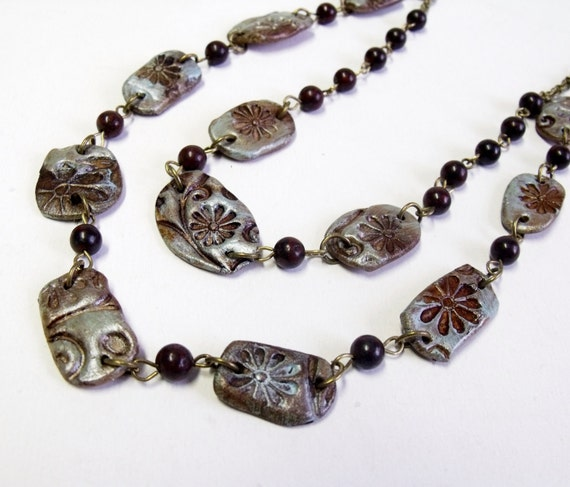 Blue and burgundy rustic style polymer clay and gemstone beaded necklace - ceramic effect