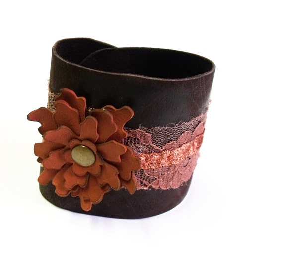 Leather flower bracelet with handmade leather flower and vintage lace