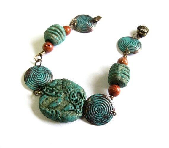 Copper and clay bracelet turquoise rustic clay beads and  picture jasper beads