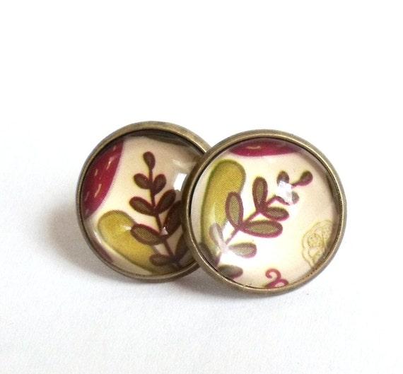 Floral stud earrings botanical earring studs