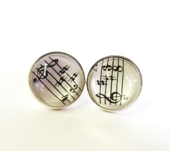 Music stud earrings silver musical earring studs