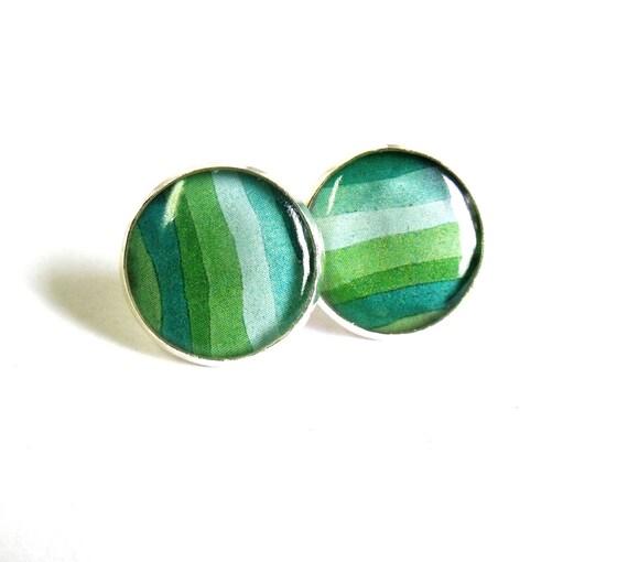Green striped earrring studs ombre jewelry ear post