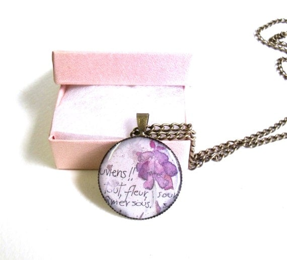 Pink floral necklace French vintage necklace