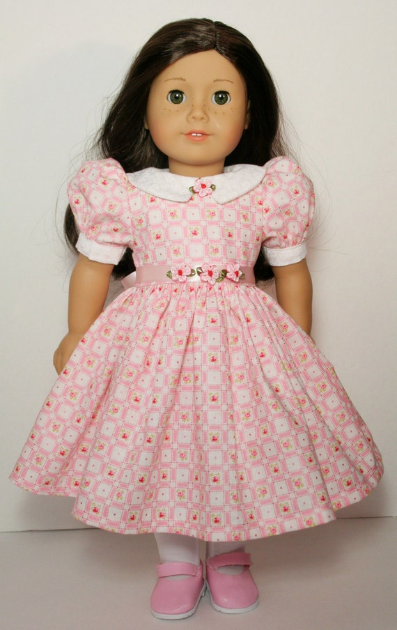 """Pink Rose Check Dress for 18"""" American Girl Doll, Puff Sleeves, Full Skirt, Hair Band, Clothes, Clothing - Collar, Ribbon Sash, Flowers"""