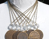 Rosie's Palace Old West Brass Brothel Token Antique Chandelier Crystal Necklace