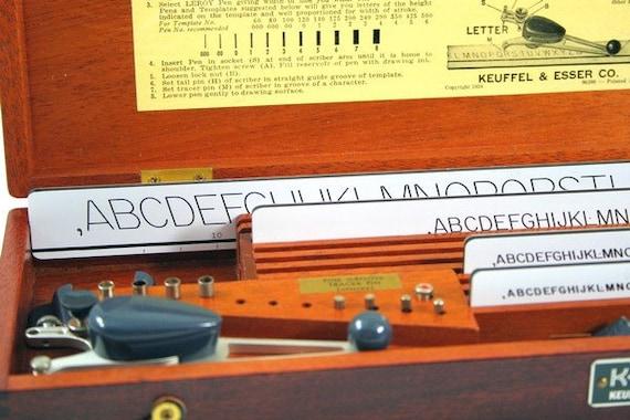 Vintage Drafting - 1950 Leroy Lettering Set in Mahogany Box