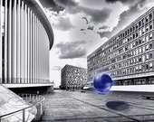 """Abstract photo black & white architecture glass orb blue 12x18"""" print"""