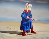 Girl on a Beach, Giclee Print of original oil painting on Watercolour Paper, UK