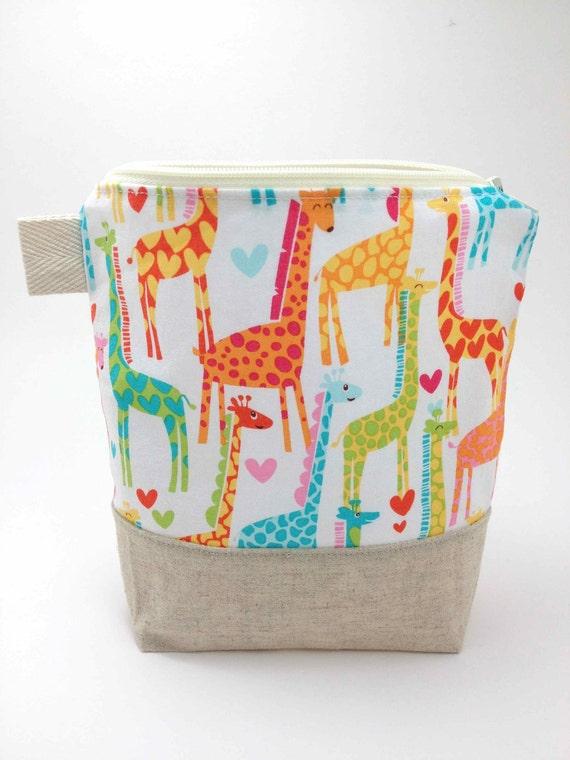 Reusable Sandwich Bag - Giraffe Love in White