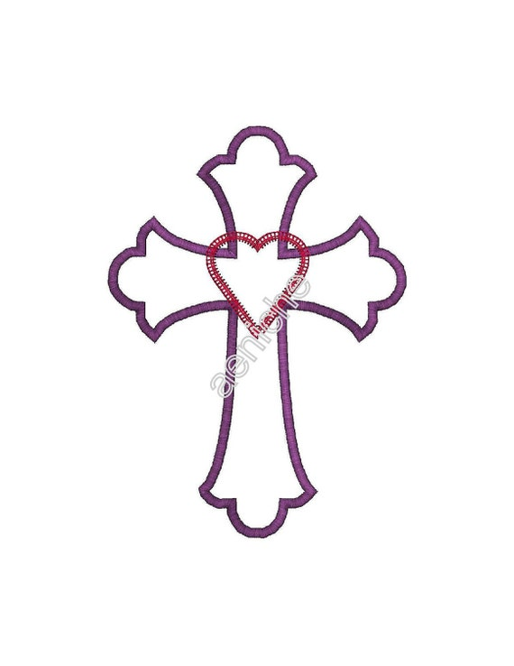 Applique Cross with Raggy Heart