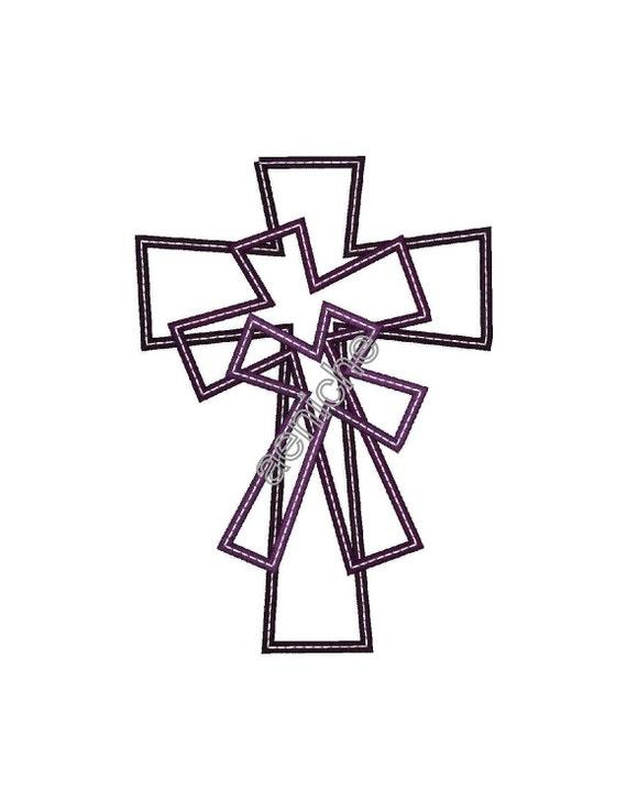 Three Center Stacked Machine Applique Crosses