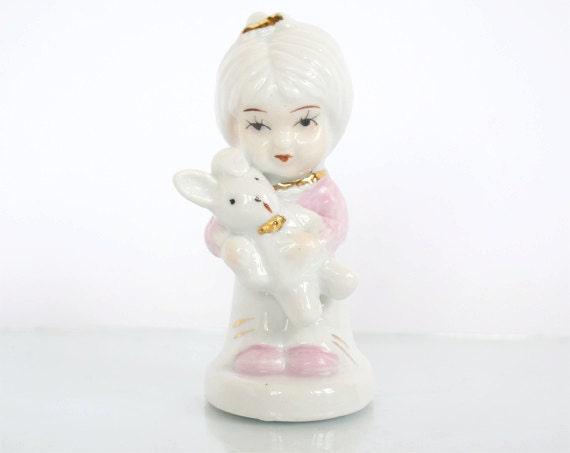 Vintage Porcelain Figurine Girl With Bunny