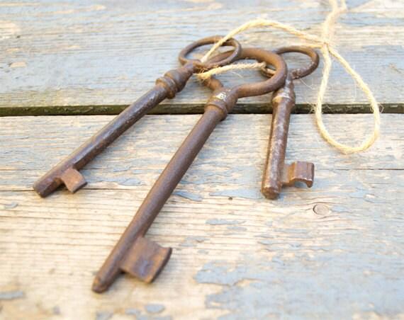 Antique European Iron Skeleton Keys - Lot Of 3