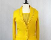 Vintage Bright Yellow & Grey Chevron Sweater Set