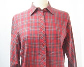Vintage 70s Sears Plaid Button Down Shirt
