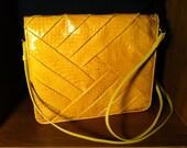 Vintage 80's Snakeskin Yellow Purse