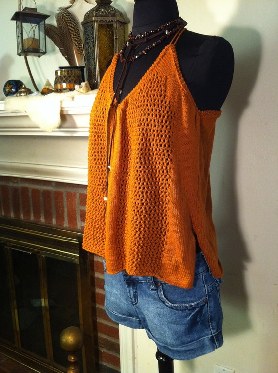 Vintage Crochet Terracotta Tank Top Shirt 1970's