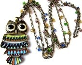 Hand Made Metal & Bead Long Owl Necklace - Gold - Beads - Animal - Chain - Jewelry