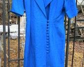Vintage blue P J Klein wrap over dress with button up closure,