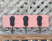 Beach flip flop cast iron hooks on wooden board beach house decor towel hooks