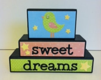 Sweet Dreams Wood block set - nursery decor - twinkle little star