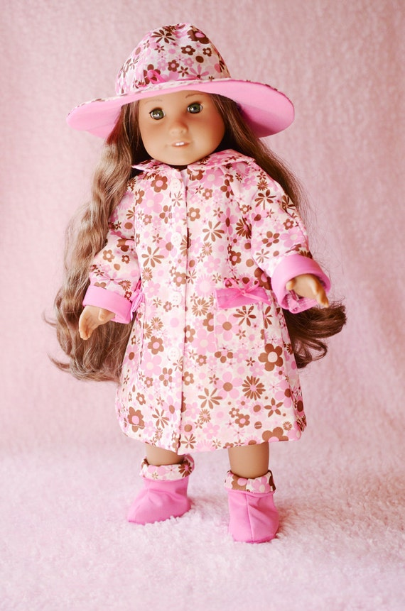 Raincoat, hat, and boots in pink floral for American Girl Doll