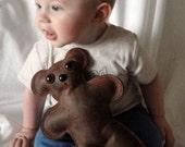 Leather baby safe teddy bear