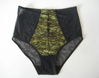 LAST ONE  Retro Pin Up Vintage Style Chartreuse Green Satin Eyelash Lace & Mesh High Waist Panty