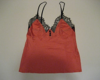 LIMITED STOCK Coral Satin & Lace Camisole Cami Size Small
