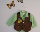 map lichen upcycled children's  tweed vest