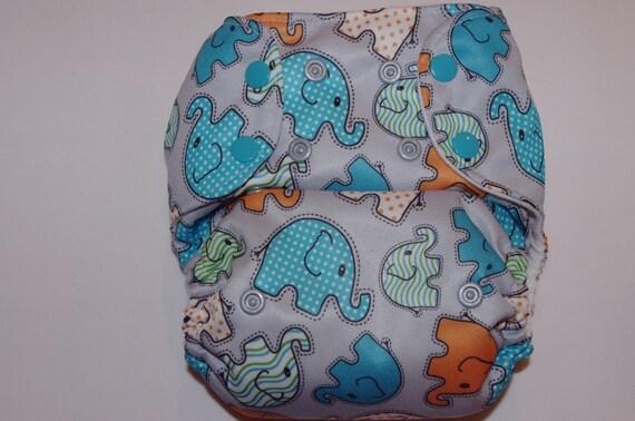 NykiBaby One-Size Pocket Diaper: Baby Boy Elephants PUL print