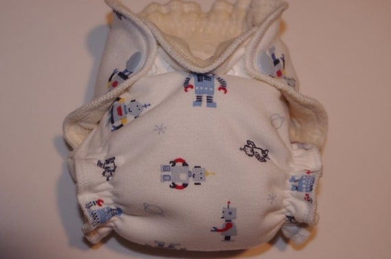 Newborn Organic Fitted Diaper 5-12lbs in Robots on white cotton knit