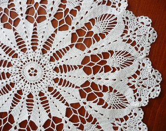 "Crochet Round Doily, White Doily, Home Decor, Table Decoration, 18"", Lace Doily, Vintage, Table Topper, Cup Coaster, Home Decoration"