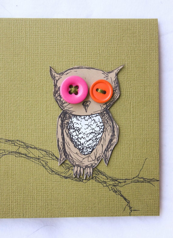 Blank BUTTON OWLS Hand Drawn Cards (Set of 4)