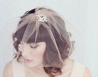 Sofia- angled blusher birdcage veil with vintage rhinestone brooch