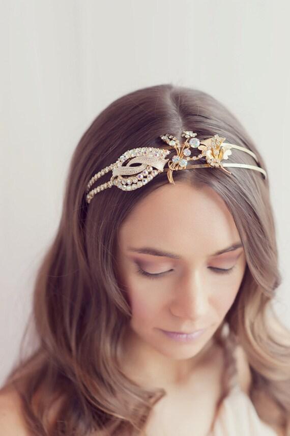 Golden vintage rhinestone tiara - 026